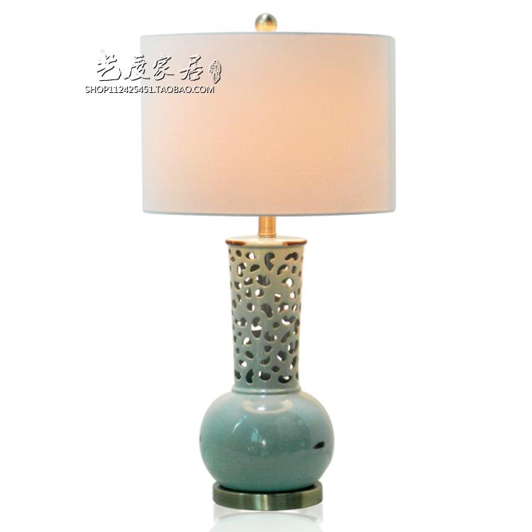 2019 Tuda 36x71cm American Style Hollow Out Light Blue Ceramic Table
