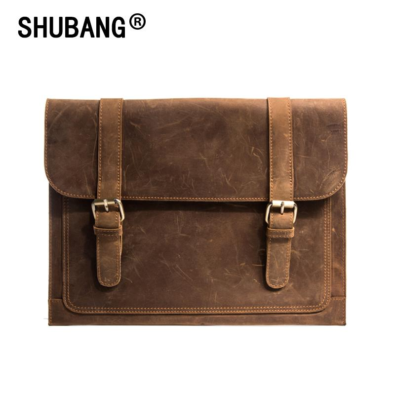 Crazy Horse Leather Briefcase For Lawyers Vintage Man Genuine ... b4800890714a0