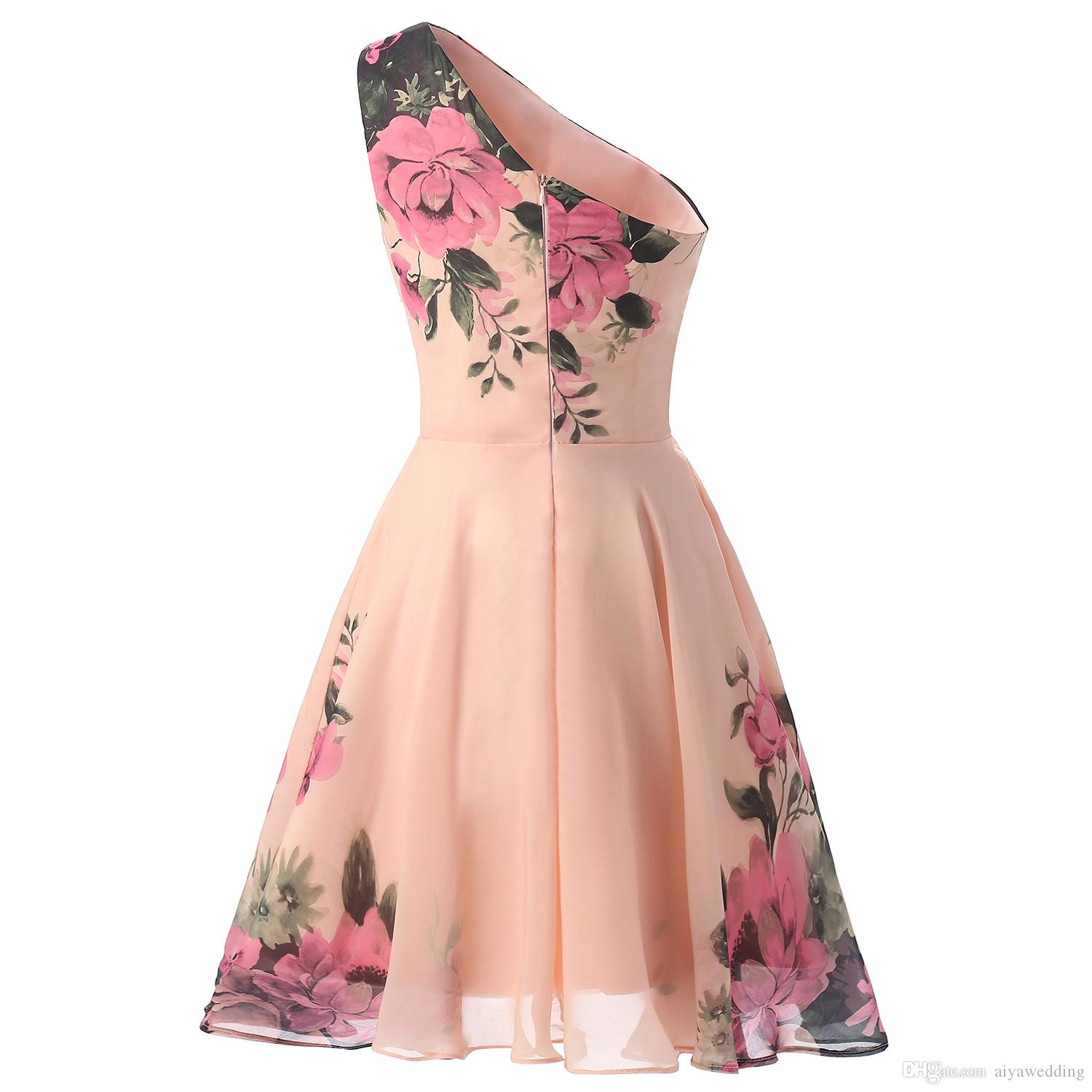 2019 One Shoulder Homecoming Dresses Printed Flower A-Line Formal Party Dresses Evening Gowns For Sweet 15/16