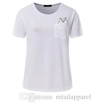 d02962047 2018 Summer T Shirt Women Casual Lady Top Tees Cotton Tshirt Female Brand  Clothing T Shirt Printed Pocket Cat Top Cute Tee S 2XL Best T Shirt Sites T  Shirt ...