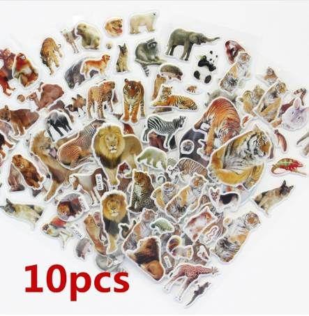10 Sheetswildlife Wild Animals Scrapbooking Bubble Puffy Stickers