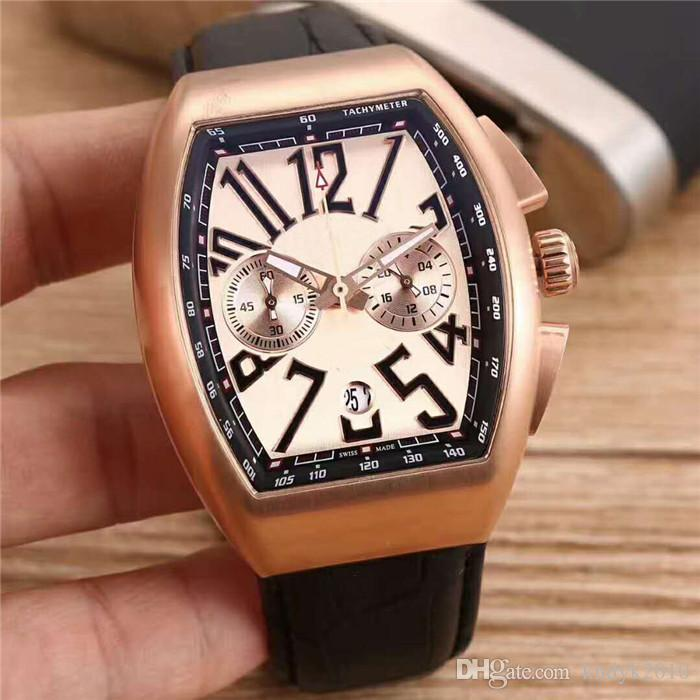 Luxury Brand Classic Japan VK Quartz Mineralized steel glass surface 904L Stainless Steel Case Leather strap+Pin buckle Men watch