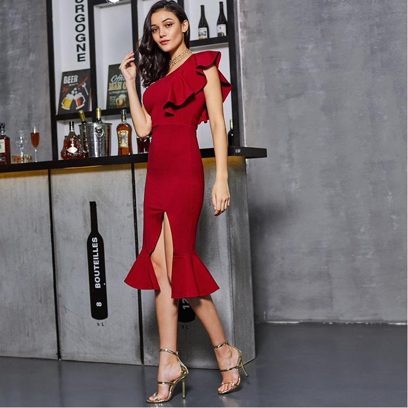 Slit Fishtail Summer Party Dress Burgundy One Shoulder Women Sexy Flounce Midi Dresses Elegant Empire Club Dress