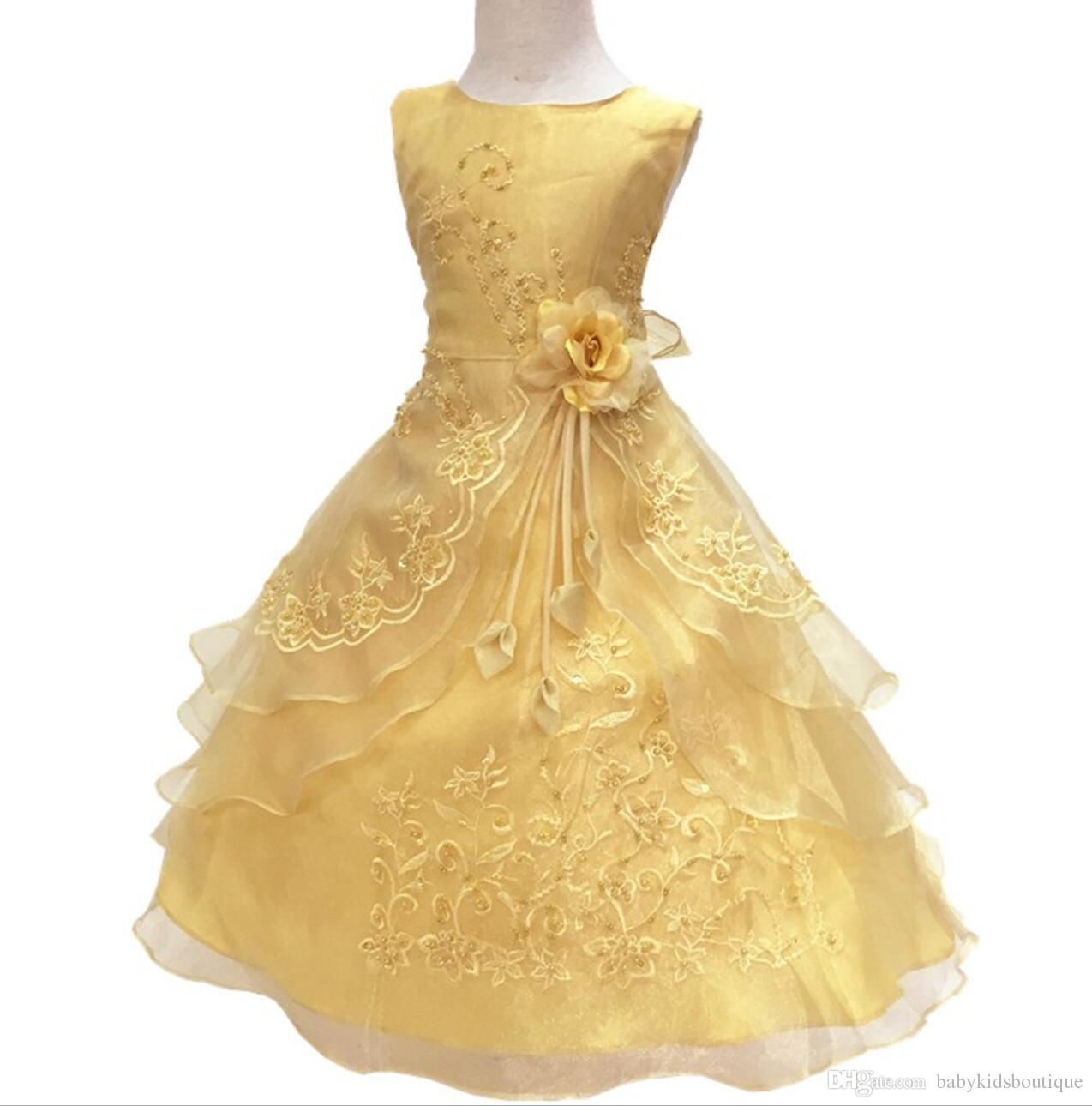 c384db822f 2019 Baby Girls Party Dress With Hoop Inside Kids Embroidered Flower Girl  Wedding Communion Princess Graduation Gown Formal Children Clothes From .