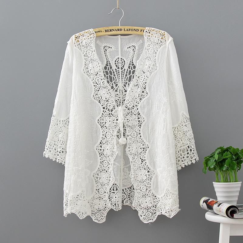 fa0c6246245 2019 Hollow Out White Lace Blouse Kimono Summer 2018 Casual Loose Woman  Shirt Fashion Half Sleeve Kimono Cardigan Blouses Women Tops From  Vanilla15, ...
