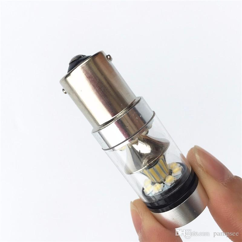 Pampsee 2 adet 1156/1157 BA15S LED 100 W Beyaz Araba Oto Işık Kaynağı Kuyruk Ters Yedekleme Fren Lambası Ampul DC9-30V sis lambaları