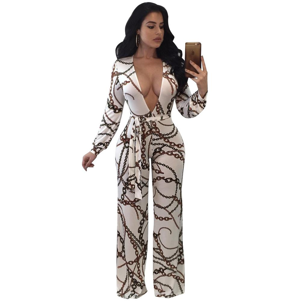c98c4d23fb34 2019 Vintage Chain Print Jumpsuit Rompers Women Deep V Neck Belted Wide Leg  Pants Elegant Jumpsuit Long Sleeve Overalls Plus Size 3XL From Vanilla06