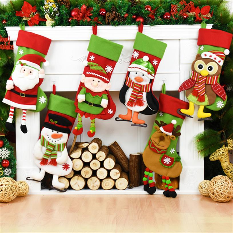 44cm big christmas stockings christmas decorations gift candy bag xmas bag xmas ornaments kid gift tree decorations christmas decorations on houses