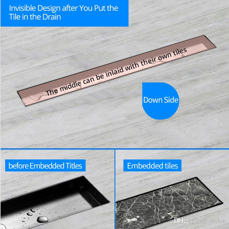 2018 quality Contemporary 304 Stainless Steel Brushed Shower Floor Drain / Shower Rectangle Floor Waste Drain / Strainer