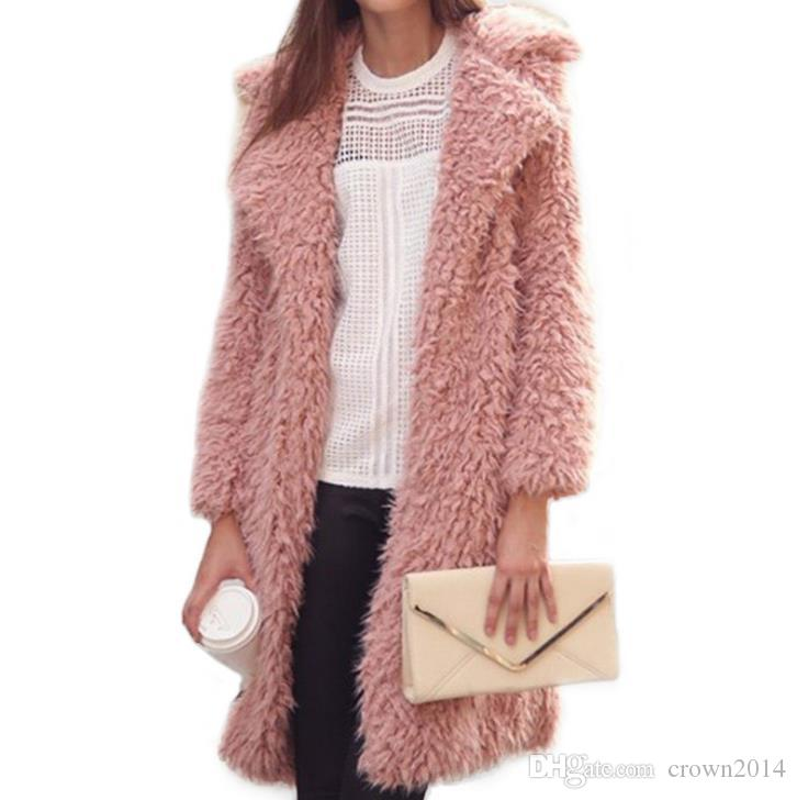 03acdcda96 2018 New Winter Plush Designer Jacket Coats Long Faux Fur Coat Pink Evening  Fashion Long Sleeves Women Lapel Jackets In Stock Evening Dresses For  Teenagers ...