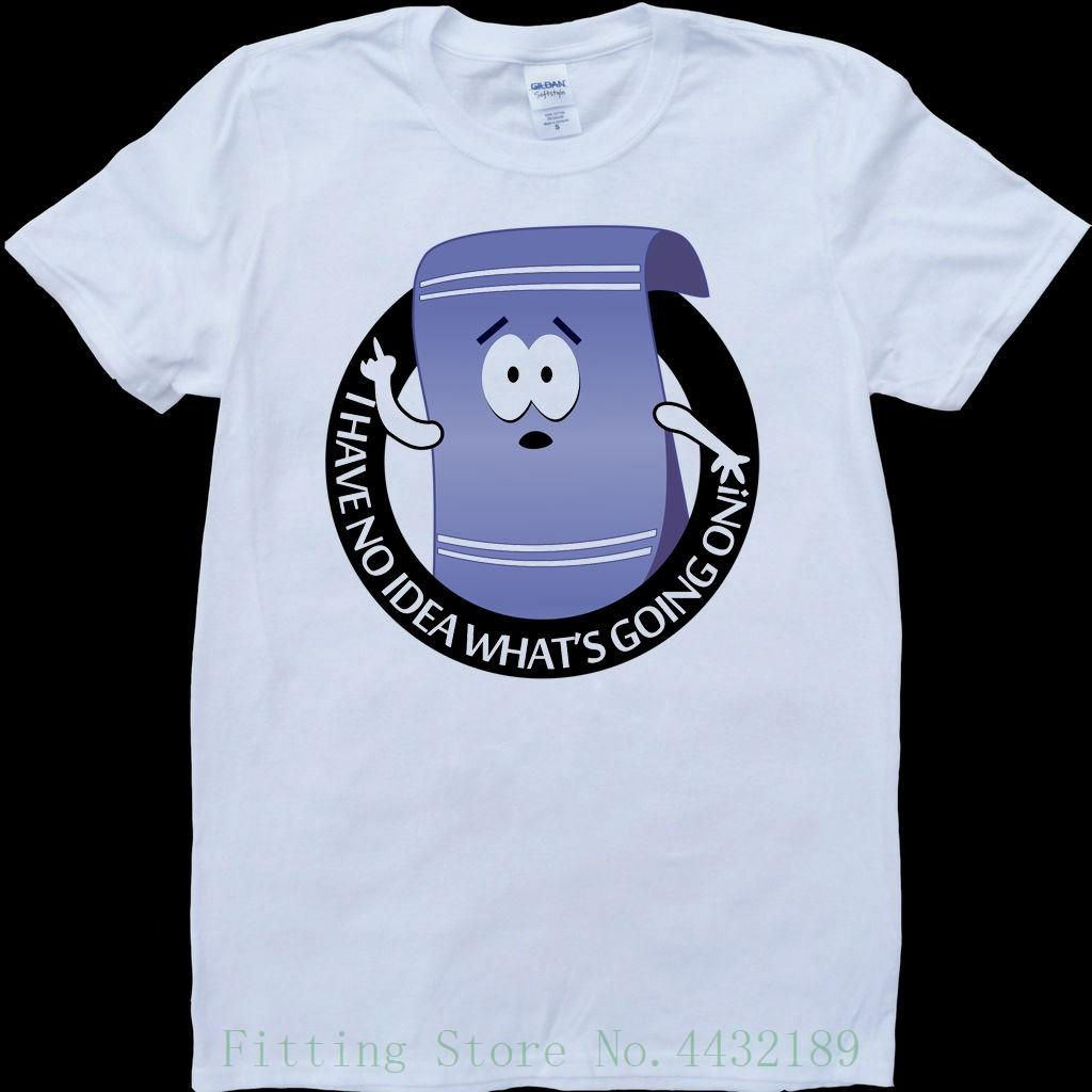 South Park Towelie High No Idea What's Going On White , Custom Made T Shirt Men Summer Short Sleeves