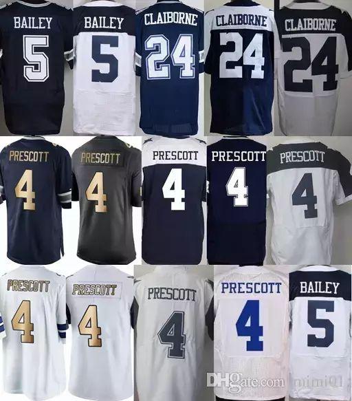 online retailer e4e87 8906e Men #5 Dan Bailey Jersey Blue White Gold Color Rush #4 Dak Prescott Jersey  Discount 24 Morris Claiborne All Stitched Excellent Quality