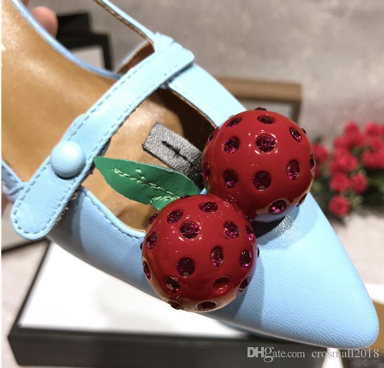 Orteils pointus sandales à talons hauts pompes d'été des femmes solides imprimées cerise boucle unique chaussure Slip-on Loafers chaussures en cuir véritable stiletto