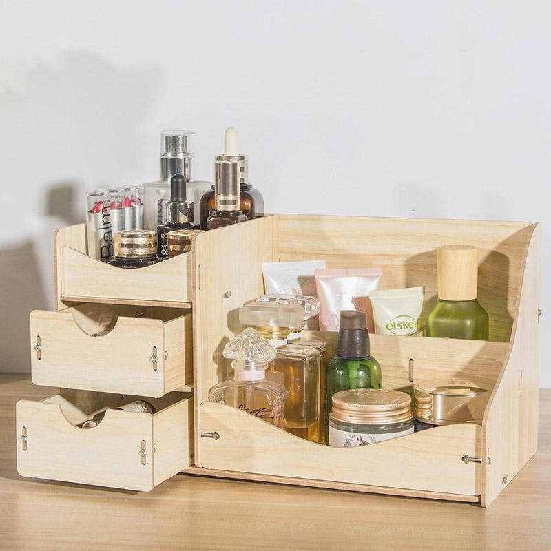 2019 Diy Wooden Desk Set Office Desk Organizer Cosmetic Holder