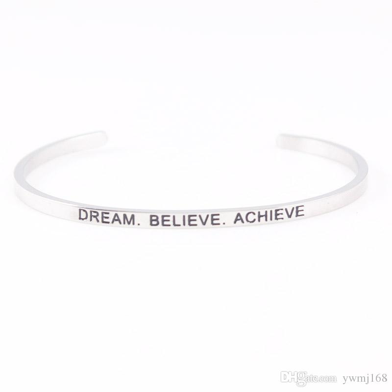 2018 Hot Stainless Steel Engraved Positive Inspirational Quote Hand Stamped Cuff Mantra Bracelet Bangle For Women Best Gifts