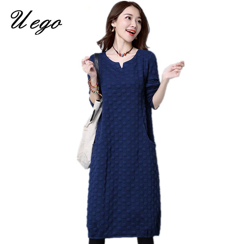 a04572a8a1 Uego Stuffing Cotton Thicken Warn Winter Dress V-neck Dot Pockets ...