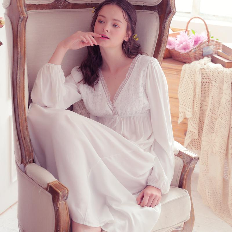 2019 Spring Autumn Vintage Nightgowns V Neck Ladies Dress Princess White  Sexy Sleepwear Solid Lace Home Dress Comfortable Nightdress From  Bestdh2014 05248add2