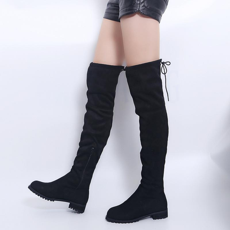 ce5af1359f6 Hot Selling New Women Boots Autumn Winter Ladies Fashion Flat Bottom Boots  Shoes Over The Knee Thigh High Suede Long 35 40 Ankle Boots For Women Mens  ...