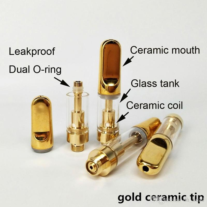 0.5 ml 1 ml cerâmico cartucho vape bobina de cerâmica vape caneta cartuchos vazio recarga atomizador de vidro 510 thread vaporizador dab caneta cartucho