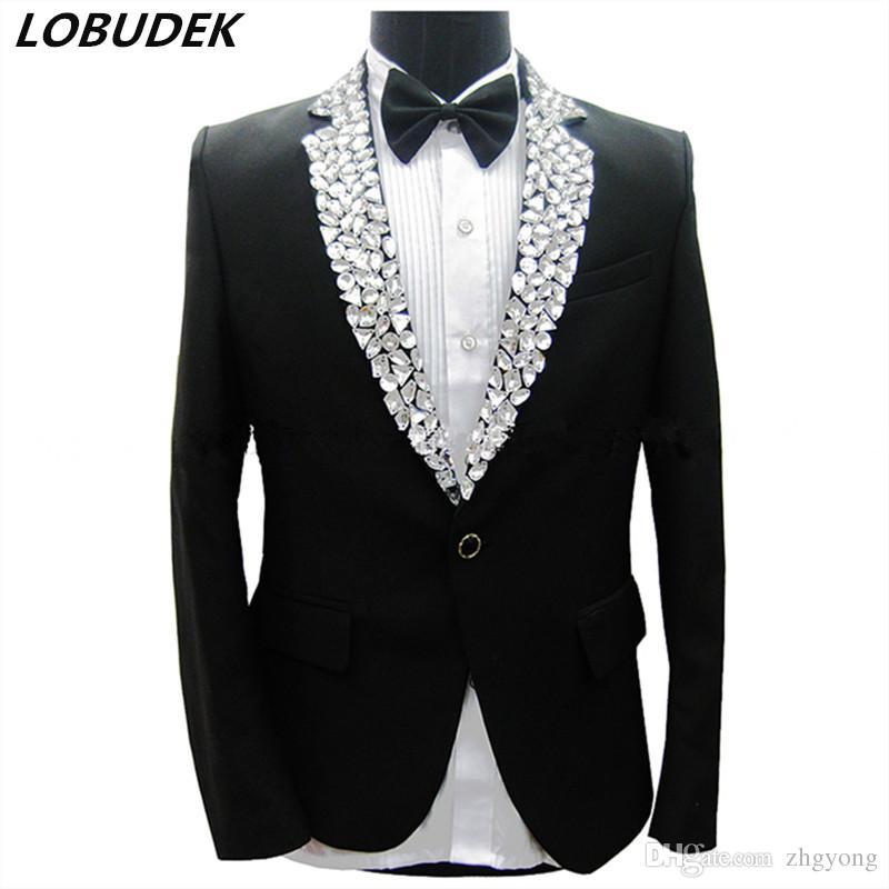 bb0b0e79f8176 Black Men's Suits Sparkly Rhinestones Slim Blazers Formal Studio Groom  Wedding Dresses Prom Party Male Singer Host Stage Performance Costume