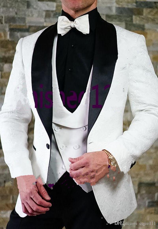 Nuevo Diseño Blanco Paisley Novio Esmoquin Padrino de boda Trajes del Mejor Hombre Mens Wedding Blazer Trajes Jacket + Pants + Vest + Tie 20