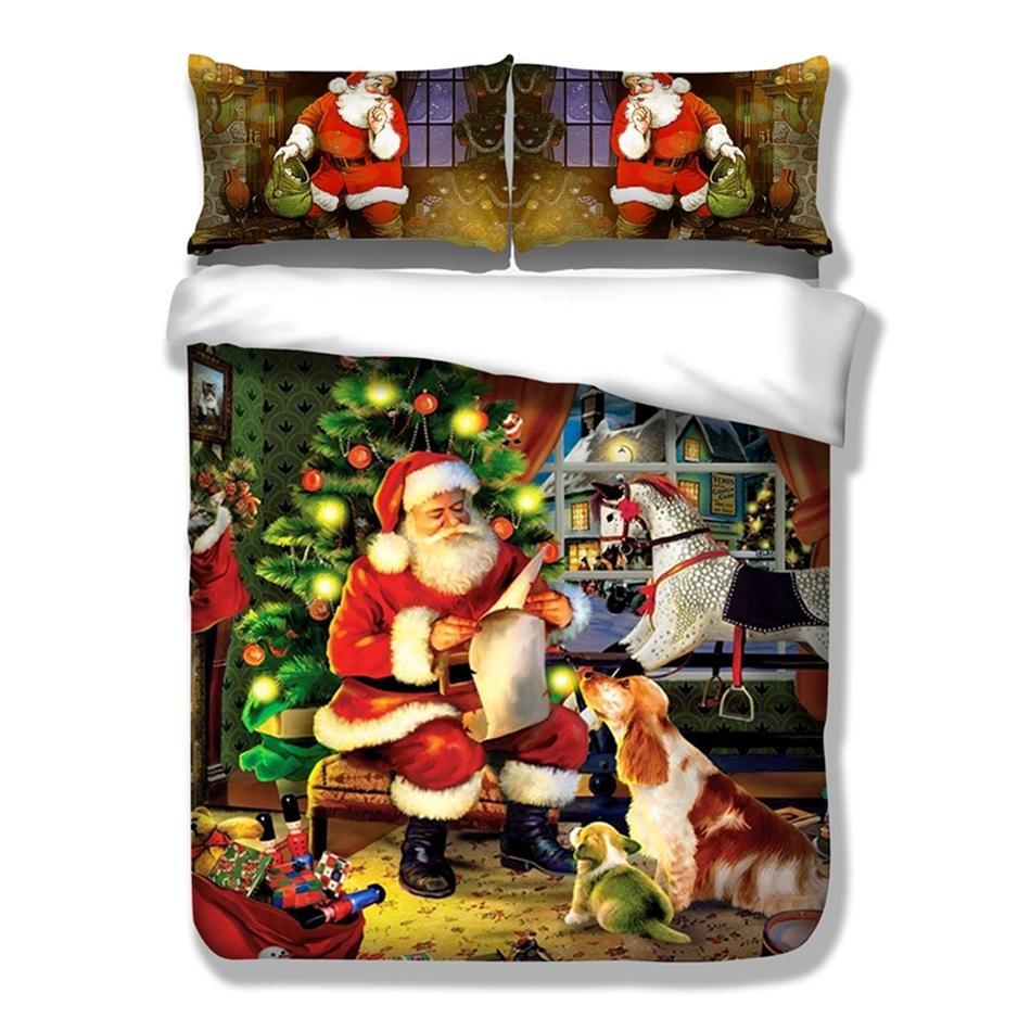 3d Christmas Duvet Cover Set Polyester Queen King Size Bedding Set