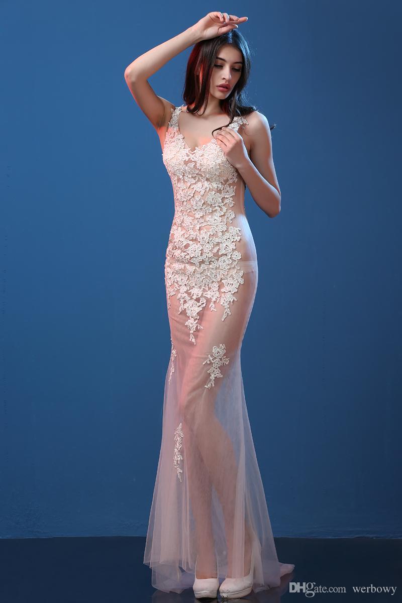 Sexy Evening Dresses 2019 Perspective Models Slim Fish Tail Dresses Nightclub Sexy Deep V-Neck Tattoo Prom Long Dresses HY1606