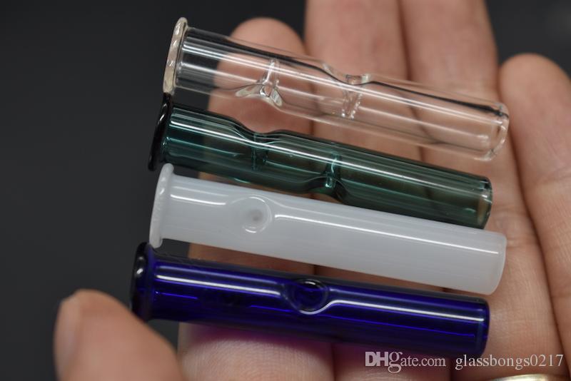Mini filtres en verre pour tabacs secs au tabac à fines herbes Feuilles à rouler brutes avec porte-cigarettes en tabac Épaisseur de pyrex coloré Filtre à fumer en verre Tuyau