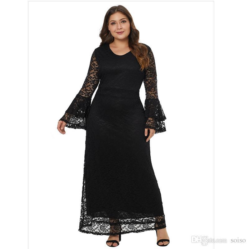 meet 66b2e 9e51f 2018 Herbst große Größe Fett Damen Kleid elegantes Kleid sexy Spitze  V-Ausschnitt Horn Langarm zurück mit Reißverschluss Plus Size Abend Party  Kleid