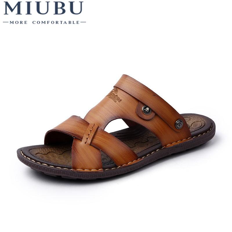 0fa561e5cb3d MIUBU Man Sandals Leather Fashion Summer Shoes Men Slippers ...