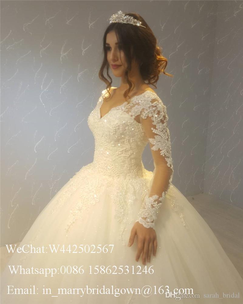 Princess Lace Ball Gown Wedding Dresses Long Sleeves 2020 Muslim Victorian Arabic Vestido De Novia Bellanaija Beaded Cheap Dubai Bridal Gown