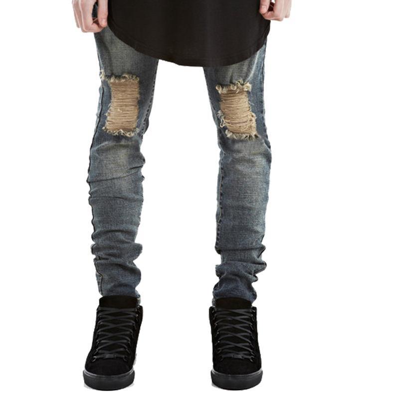 3c5f1a569 2018 Nuevos pantalones vaqueros rasgados para hombres Slim Biker Zipper  Denim Jeans Skinny Frayed Pants Pantalones Rip desgastados Jeans negros  envío ...