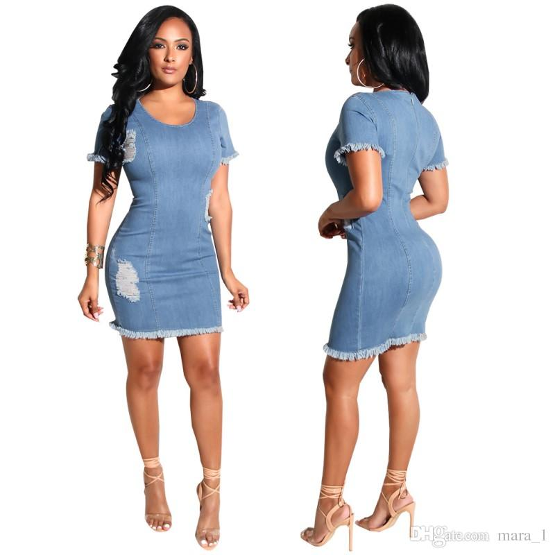 ed3b4cf47f Women Stretch Denim Mini Dress Ripped Tassel Short Skirts Sexy Night Club  Breif Blue Casual Dress Skinny Jean Skirt Pure Color Women Clothes Dresses  Prom ...