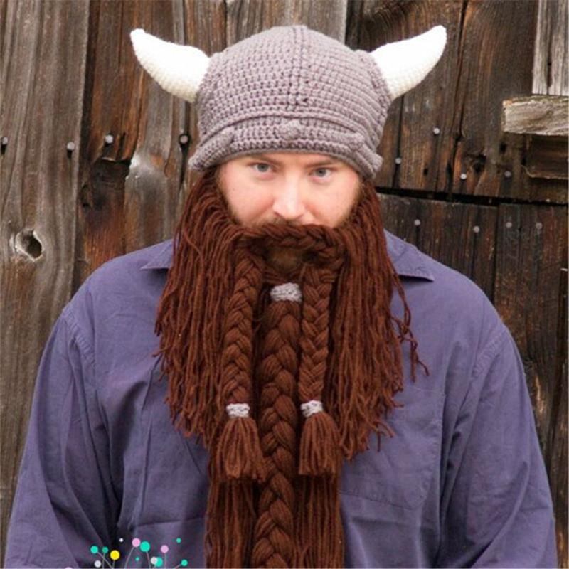 293f1347 Novel Funny Personality Autumn winter knitted Big Wig Beard Ox horn cap  cosplay hat Viking knight Helmet Creative Christmas Hallowmas gifts