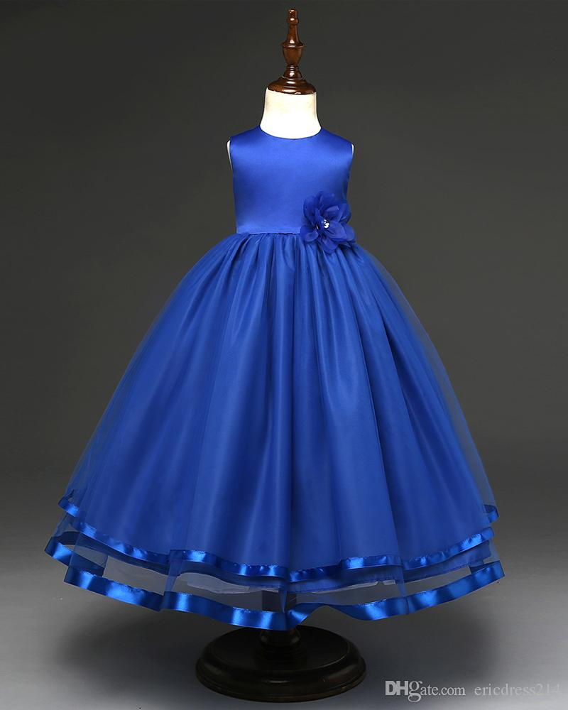 b1bf07f54c613 Beauty Royal Blue Pricess Wedding Flower Girls Dresses Organza Kids Party  Dress Off Shoulder First Communion Dress Birthday Party Dress Girls Spring  Dresses ...
