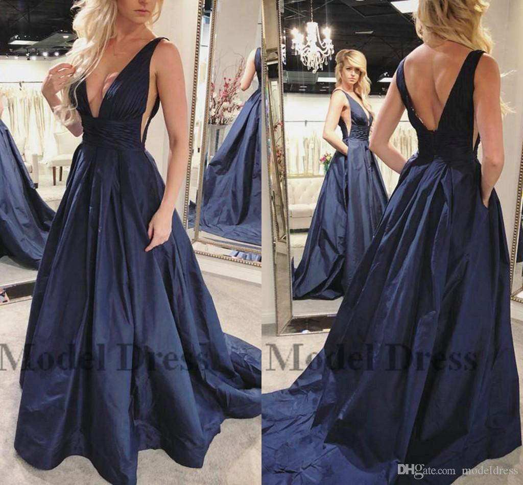 Navy Blue Prom Dresses A Line Backless Deep V Neck Sexy Satin Pleated Waist  Sweep Train Elegant Party Dresses For Special Occasion 2018 Dress Shop  Formal ... 9cabc8e64