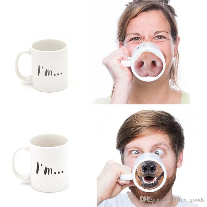 Großhandel Keramik Wasser Tasse Lustige Schwein Nase Hund Nase ...