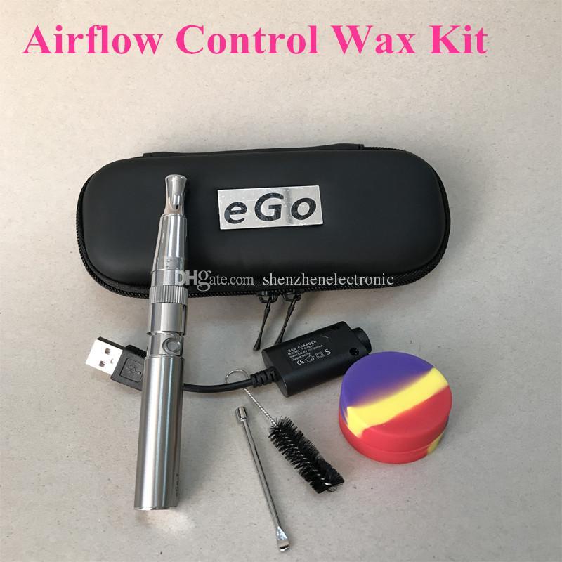 Electronic Cigarette wax kit airflow control Atomizer Ego T Battery E Cigarette Zipper Case wax vaporizer double quartz rod coil DHL free