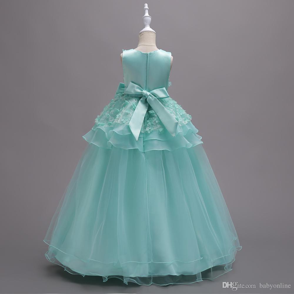 Güzel Nane Yeşil Çiçek Kız Elbise Yaprakları Çocuklar Örgün Abiye giyim Önlük Balo Pageant Kızlar Peplum Yay Ile MC1320