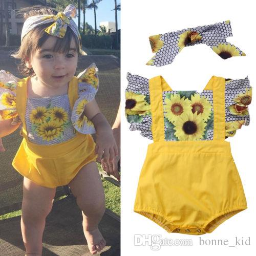 d1f7659e44509 2018 Newborn Baby Girls Sunflower Romper + headbnad two-piece set Outfits  Set Onesies Jumpsuit Hexagon Sunsuit Bodysuit Kids Clothing 3-18M