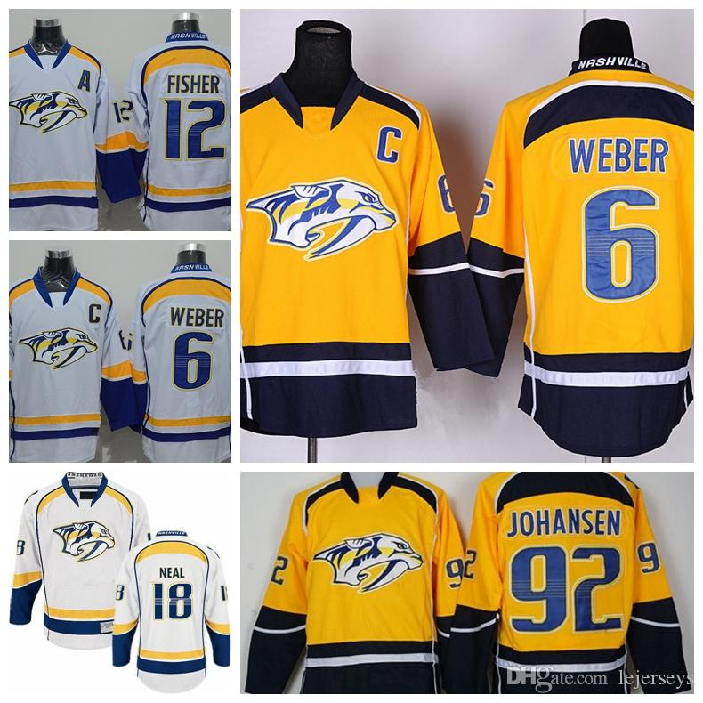 429dfccef 2019 2018 Nashville Predators 6 Shea Weber 18 James Neal 92 Johansen White  Yellow Stitched Ice Hockey Jerseys From Lejerseys