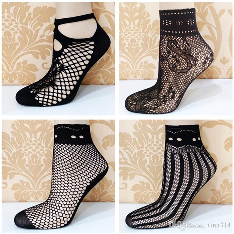Wholesale- Fashion Lady Girl Lace Hollow Ventilation Socks Net Socks Short Socks For Woman T2B084