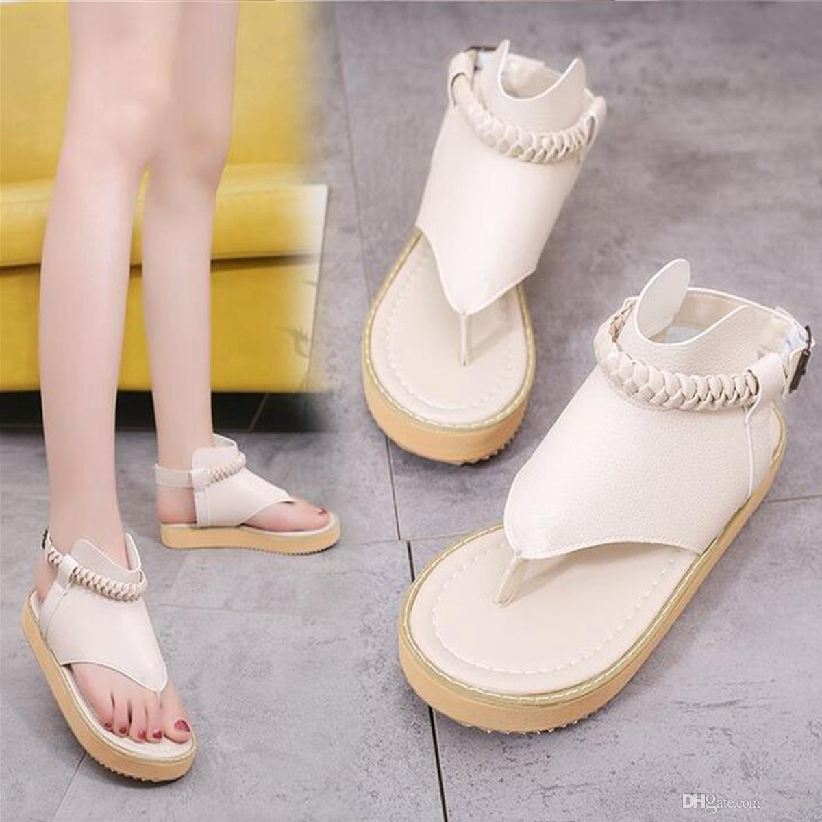 a71808aeaaaa Women S Sandals New Rome Style All Match Thickening Bottom Buckle Flip  Flops Sandals Solid Color Ladies Summer Shoes White  Black Beige Grey Black  Wedges ...
