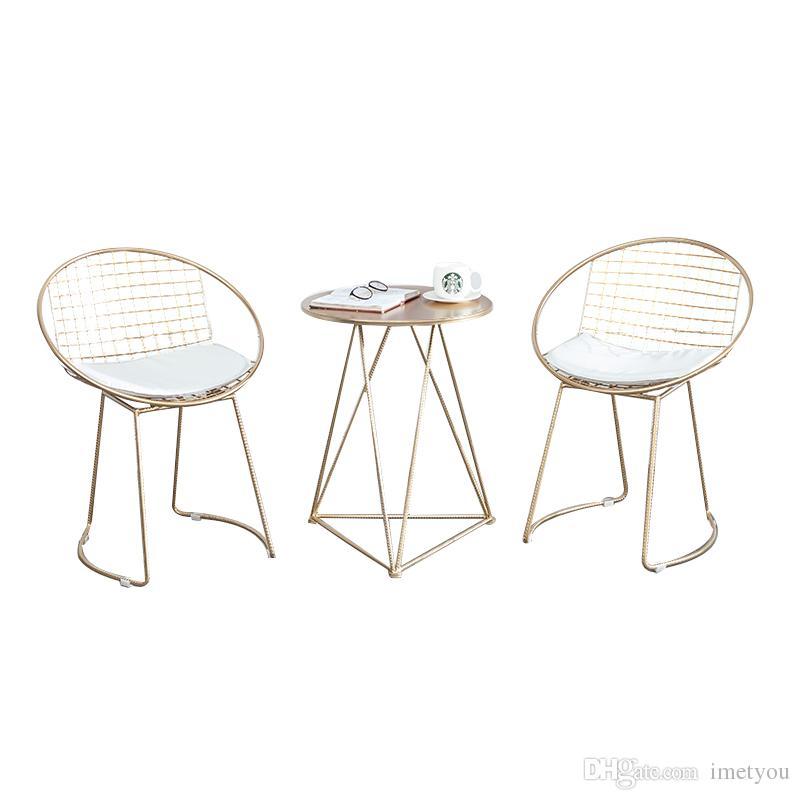 Stahl Freizeit Mode Stühle Eisendraht Rücken Stuhl Gold Hohlen Set Wohnzimmer Kaffee Teetisch Möbel Bar Metall Esszimmer KJTF1cl