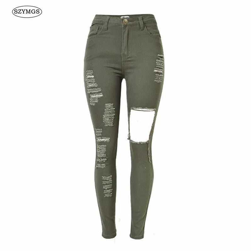 Femme Taille Haute Femme Taille Jeans Troué Haute Troué Jeans Jeans mNn08w
