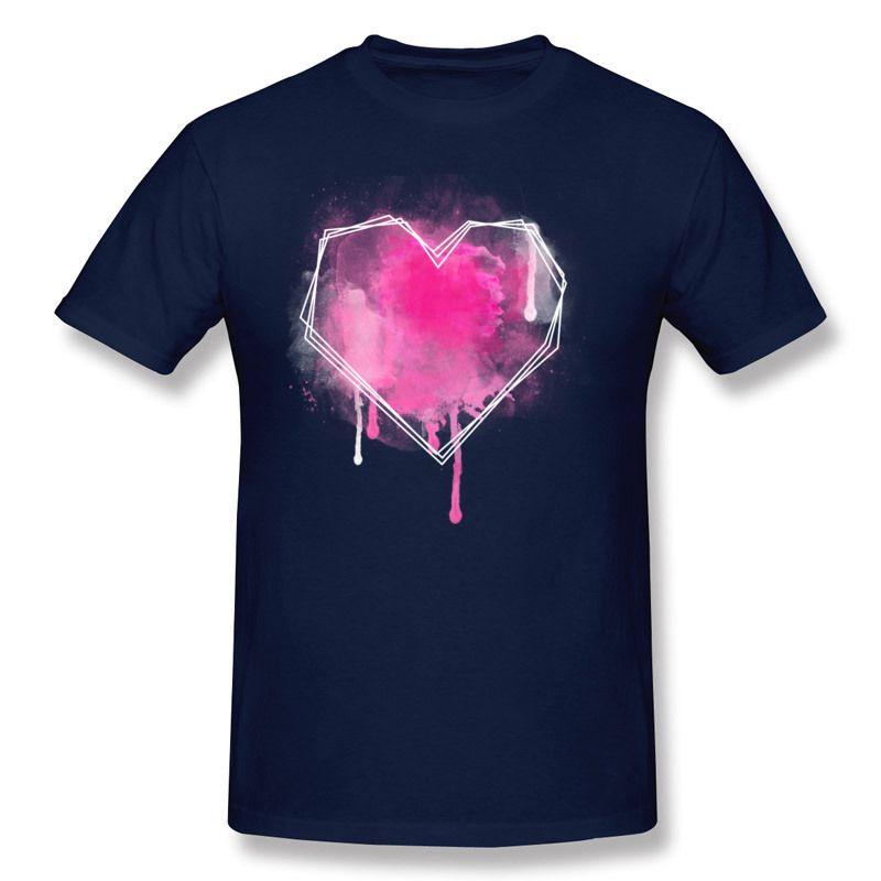 Hommes de luxe 100% coton coeur geo aquarelle T-shirts mens col rond bleu manches courtes T-shirts, plus la taille geek t-shirts