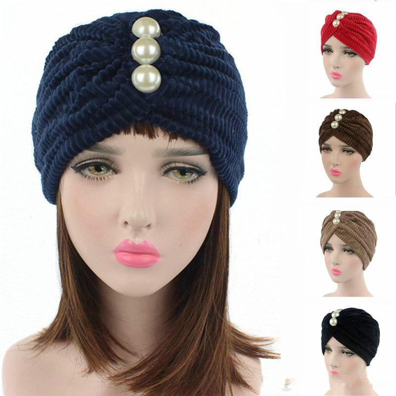 2018 Hot Sale Hotsale Woman Muslim Stretch Pearl Turban Hat Bonnet ... 3bf7a5fc4cac