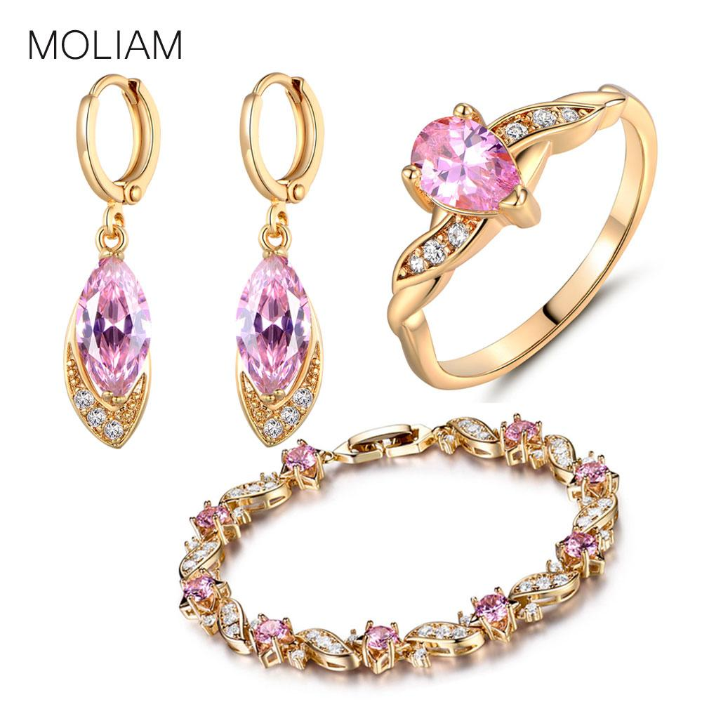 6f0c2705e48 Whole SaleMOLIAM Ladies Bridal Jewelry Sets For Wedding Gold Color Pink  Crystal CZ Bijoux Earring Bracelet Ring Set E016d+L104a+R105 Engagement And  Wedding ...