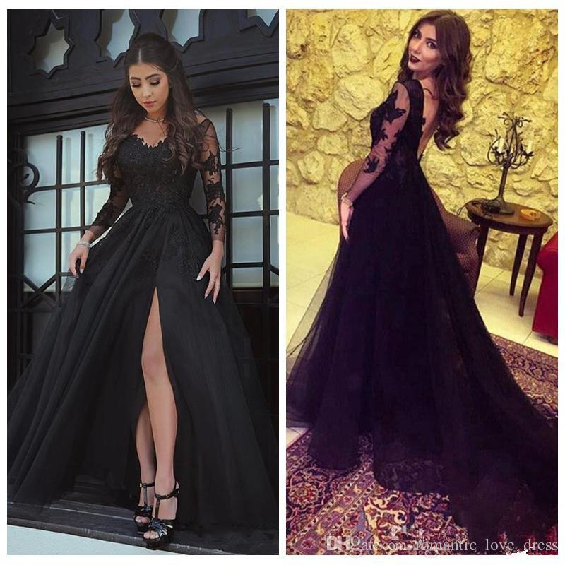Long Sleeve Lace Black Evening Dresses 2019 Hot Sales Custom New A-Line V-Neck Sexy High Split Backless Tulle Sheer Prom Party Gowns E005