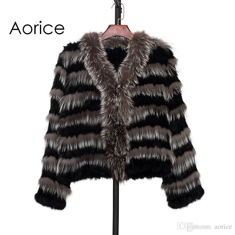 a62644b7d2d Pudi CT7005 Knit Knitted Real Silver Fox   Real Rabbit Fur Coat ...